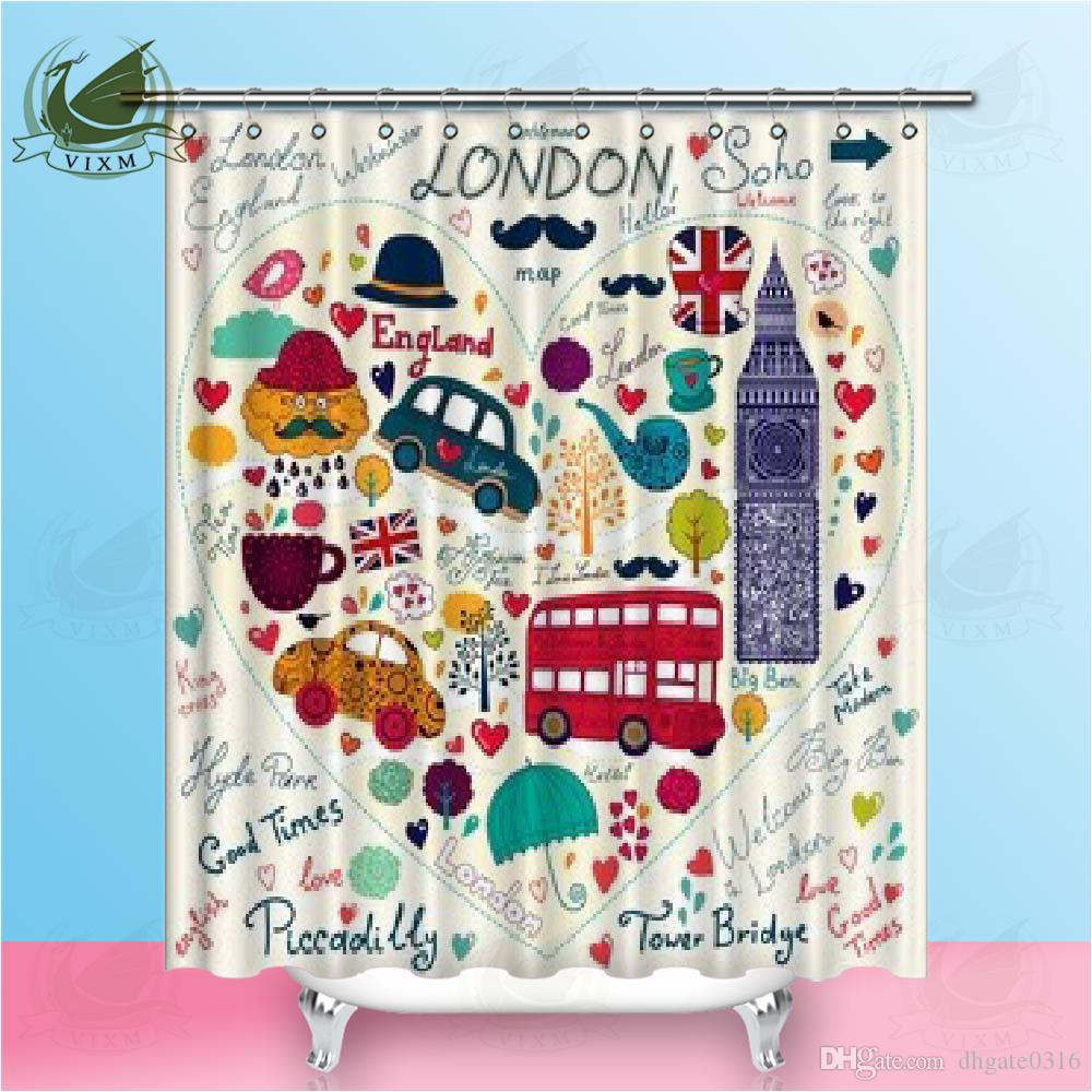 2019 Vixm British Style London Symbol Big Ben Cartoon Car Creative Beard Shower Curtains Waterproof Polyester Fabric For Home Decor From Dhgate0316