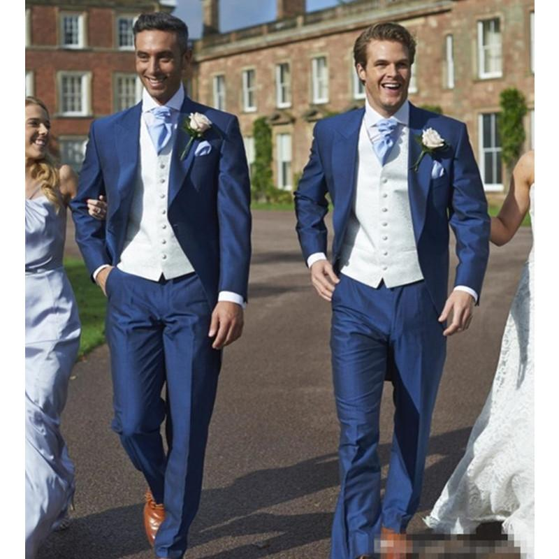 Custom Made Blu Wedding Groom Slim Fit Blu abiti uomo vestito da sposa per il costume Uomini Homme floreale Blazer