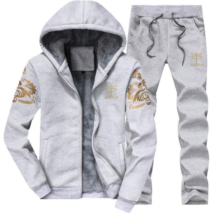 a4f3993026160 Satın Al Marka Yeni Erkekler Set Moda Eşofman Polyester Çizgili Kalın Kazak  + Pantolon Spor Takım Elbise Erkek Kış Takım Drop Shipping, $8.13 | DHgate.