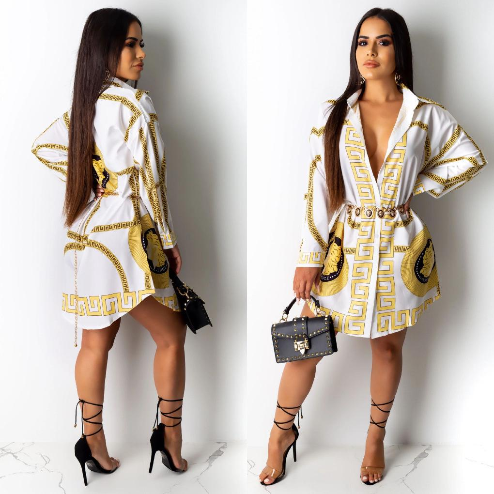 Women T shirt Dress Casual Dresses Loose Long Sleeved Fashion Sexy Floral Print Shirt Dress Club Cardigan Plus Size Clothing S-2XL