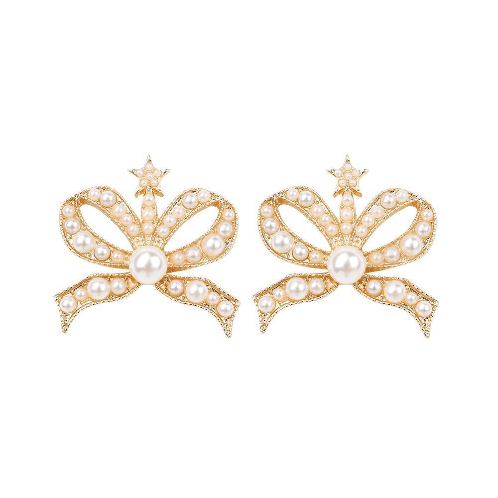 Großhandelsverkauf großer Rabatt gut aussehend 2019 neue goldene bogen perle krone ohrringe koreanischen frauen legierung  ohrstecker schmuck mode kristall