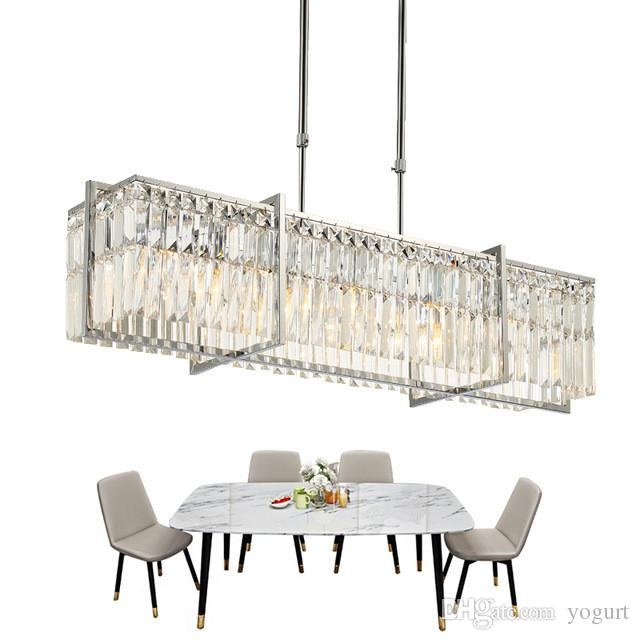 Dining Room Crystal Chandelier Luxury LED Cristal Lampadario Rectangle Polished Chrome Lighting Fixture Home Decor Lamp Branch Living