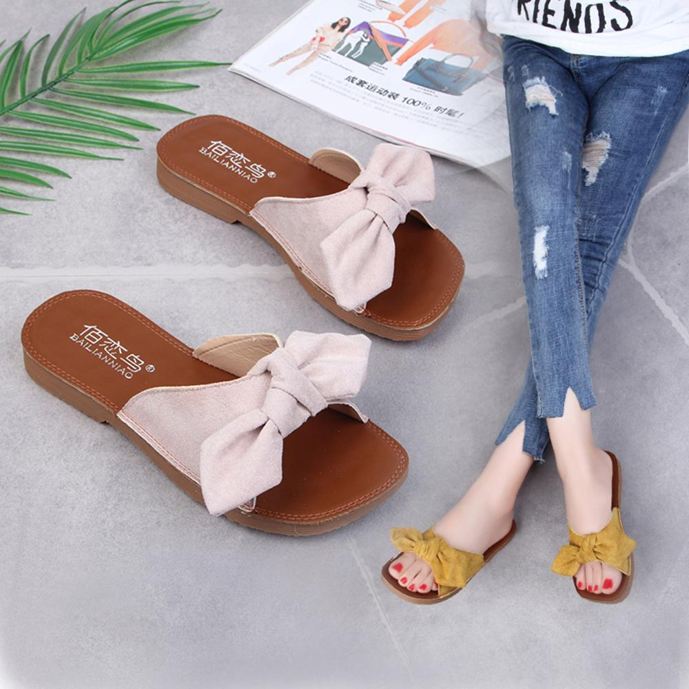 Suede Sandal Slides Flats New Slip On Shoes Casual Solid Sandals Beach Bowknot Color Summer Women 2019 Comfort Arch Support dtBChQrsx