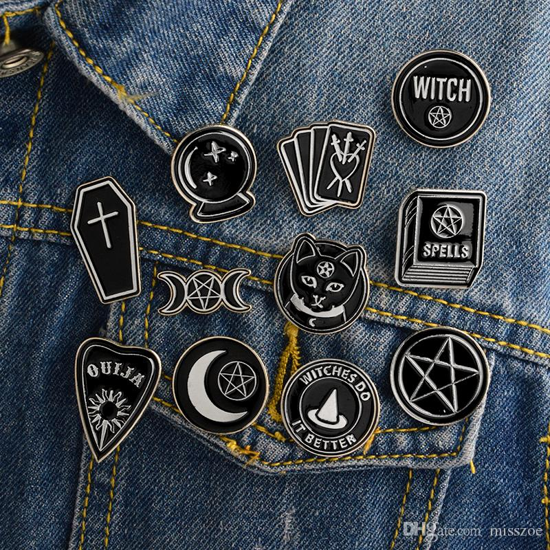 Miss Zoe Handmade Witch Ouija Moon Tarot BooK New Goth Style Enamel Pins Badge Denim Jacket Jewelry Gifts Brooches for Women Men