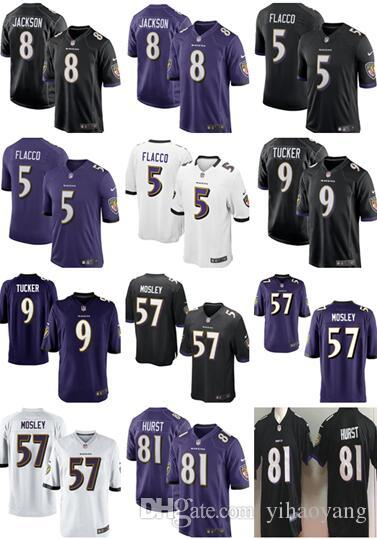 outlet store fb23e 0a264 new Baltimore Ravens 8 Lamar Jackson 81 Hayden Hurst Jersey Mens 9 Justin  Tucker 5 Joe Flacco Perriman 32 Eric Weddle 55 Suggs Jerseys