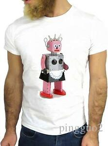 T-SHIRT JODE GGG24 HZ0064 ROBOT FUN COOL VINTAGE ROSE à manches courtes FUNNY FASHION CARTOON NICE