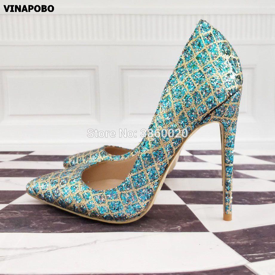 ace84ce72 Wholesale Bling Multicolor Sequins Women Wedding Shoes High Heels Ladies  Sexy Fashion Party Pumps Shoes Female Bridal Gold Blue Cheap Shoes Online  Fashion ...