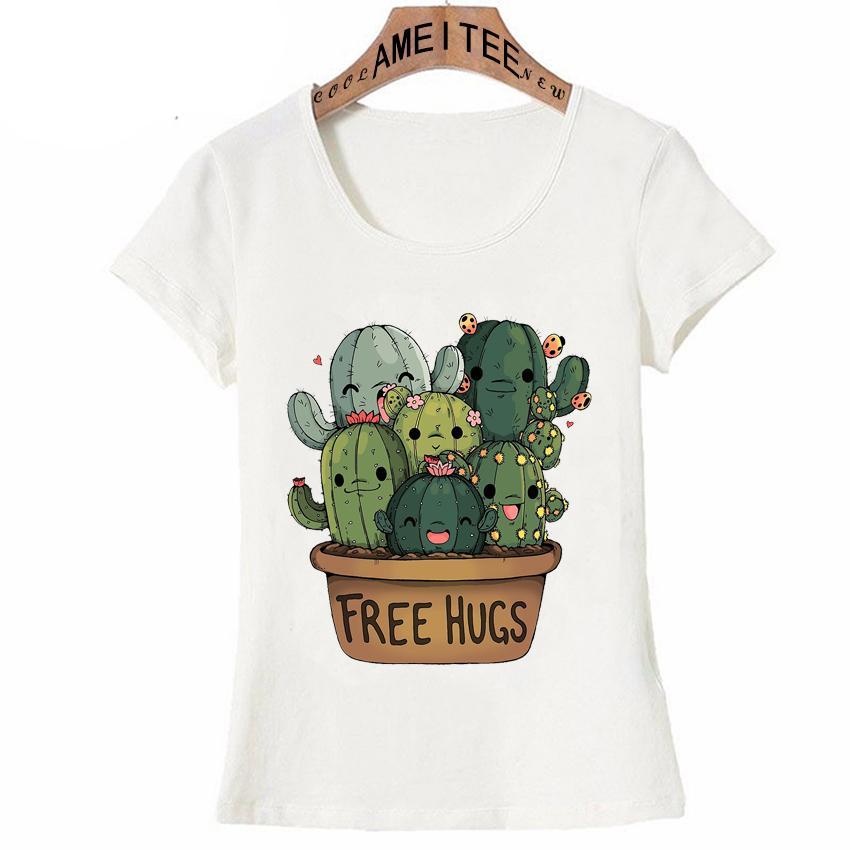f4b13e95b New Summer Fashion Women T Shirt Cute Cactus Free Hugs Girl Print T Shirt  Mini Casual Tops Cute Tees Hipster Short Sleeve Y190123 Popular T Shirt  Funny It ...