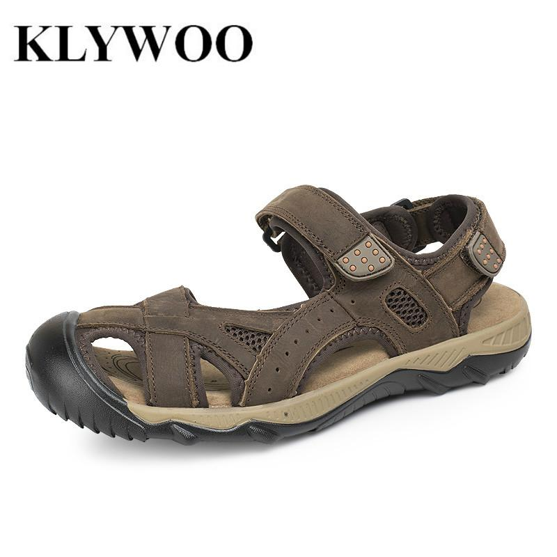c2a80f5ef9cf New Plus Size 38 48 Fashion Men Sandals Slippers Genuine Leather Cowhide Breathable  Men Summer Shoes Outdoor Casual Shoes Sildes Shoe Shop Cute Shoes From ...