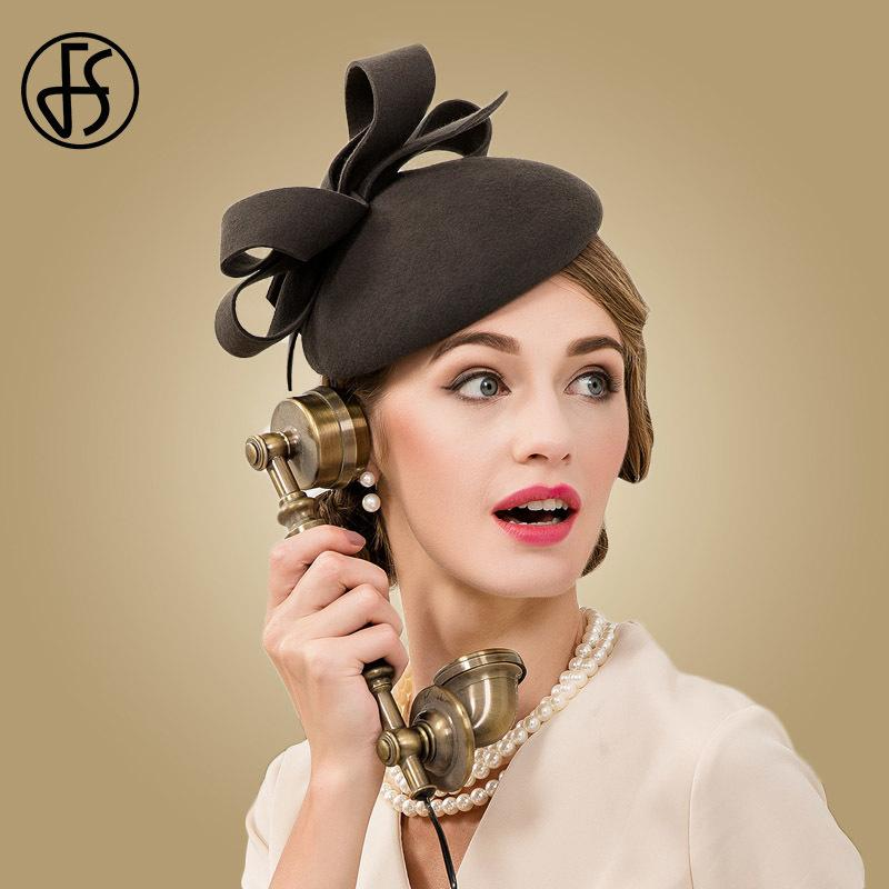 2743cf0692f94 FS Fascinator 100% Wool Wedding Dress Hat Women Dark Gray Fedora Vintage  Ladies Pillbox Hats England British Bow Boina Feminino D19011102 Wide Brim  Hat Tea ...