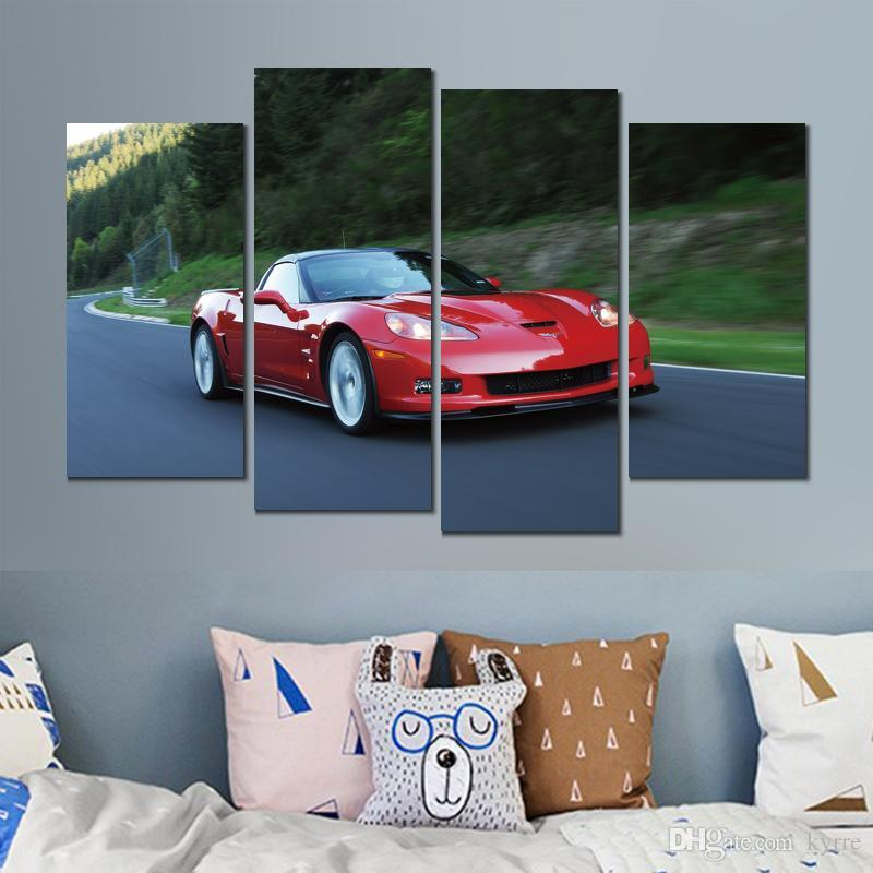 Brilliant 4 Sets Car Poster Chevrolet Corvette Zr Red Canvas Printed Painting Wall Pictures For Living Room Decor Download Free Architecture Designs Scobabritishbridgeorg