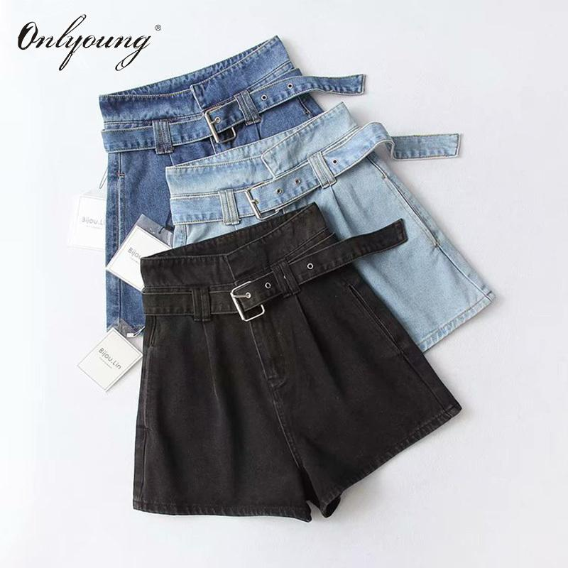 Onlyoung 2019 Summer Women High Waist Jeans Streetwear Vintage Cotton Belted Blue Black Sexy Female Denim Shorts J190629
