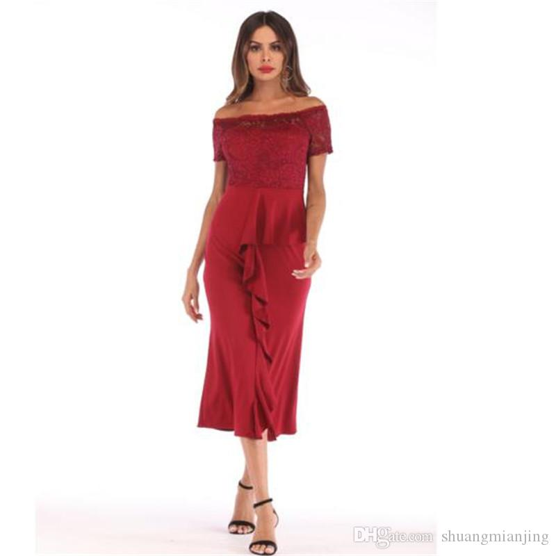 Women's lace dress fashion ruffle stitching off shoulder word collar summer dress women sexy dresses split vadim slim mid long vestidos