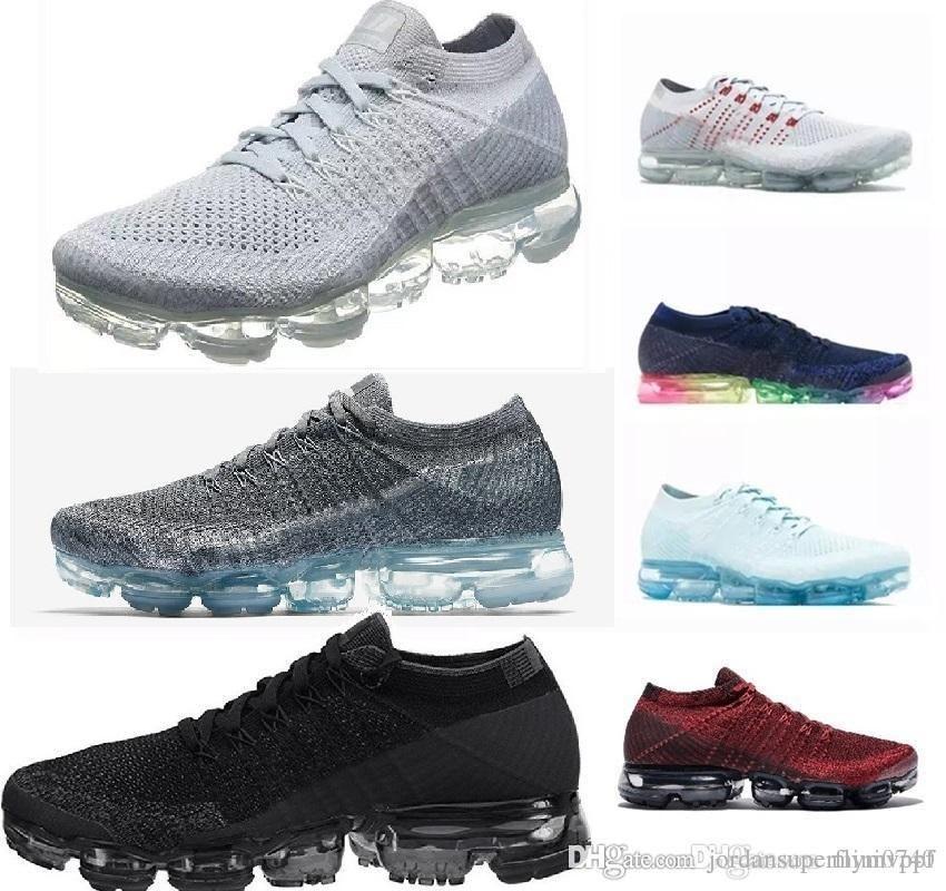 Nike Vapormax 2019 New 28 color Men Femmes 2.0 2 Baskets de tennis blanches et blanches Baskets Plyknit Chaussures de sport Chaussures Casual