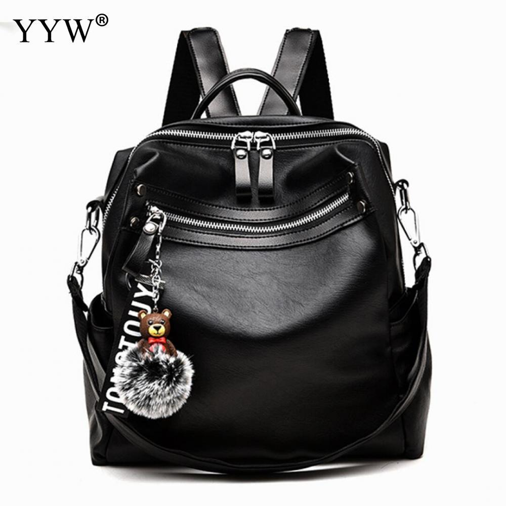 f5bf220c36 Pu Leather Motorcycle Bags For Women 2018 Black Girl Large Capacity Back  Pack Casual Backpack Female Travel Bag Fur Shoulder Bag One Strap Backpack  ...