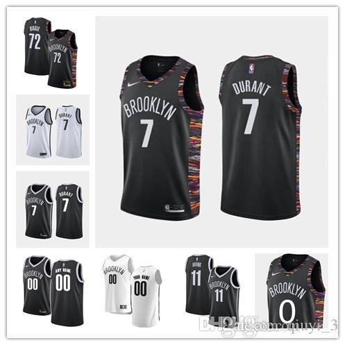 Custom Official quality 7 Kevin Durant 11 Kyrie Irving 72 Biggie black white custom Swingman Jersey hot stamping jerseys