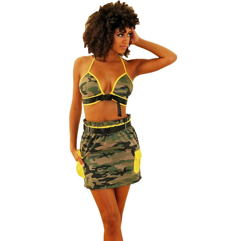 60bc66bd8d5b48 2019 Camo Sexy Set Women Club Outfits 2019 Backless Halter Crop Top And  Mini Skirt Set Two Piece Summer Matching Sets Sashes From Tengdingskirt