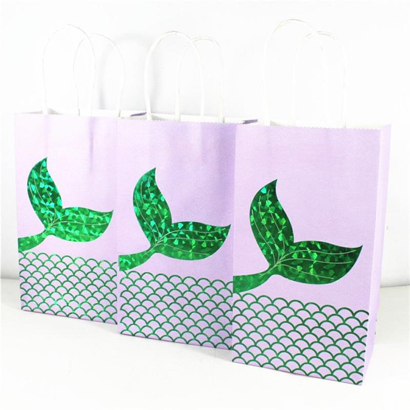 Mermaid Hot Stamping Tote Bag Outdoor Shopping Handbag Party Decoration Sack Kraft Paper Blue Green Bardian 1 2gh C1