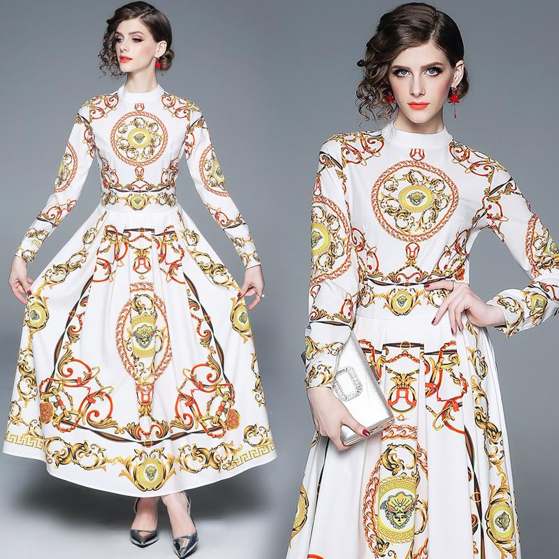 afdf478f768c9 2019 Maxi Dress Elegant Palace Baroque Print Long Sleeve Party Prom Evening  Women White Dresses From Clothes_zone, $47.24 | DHgate.Com