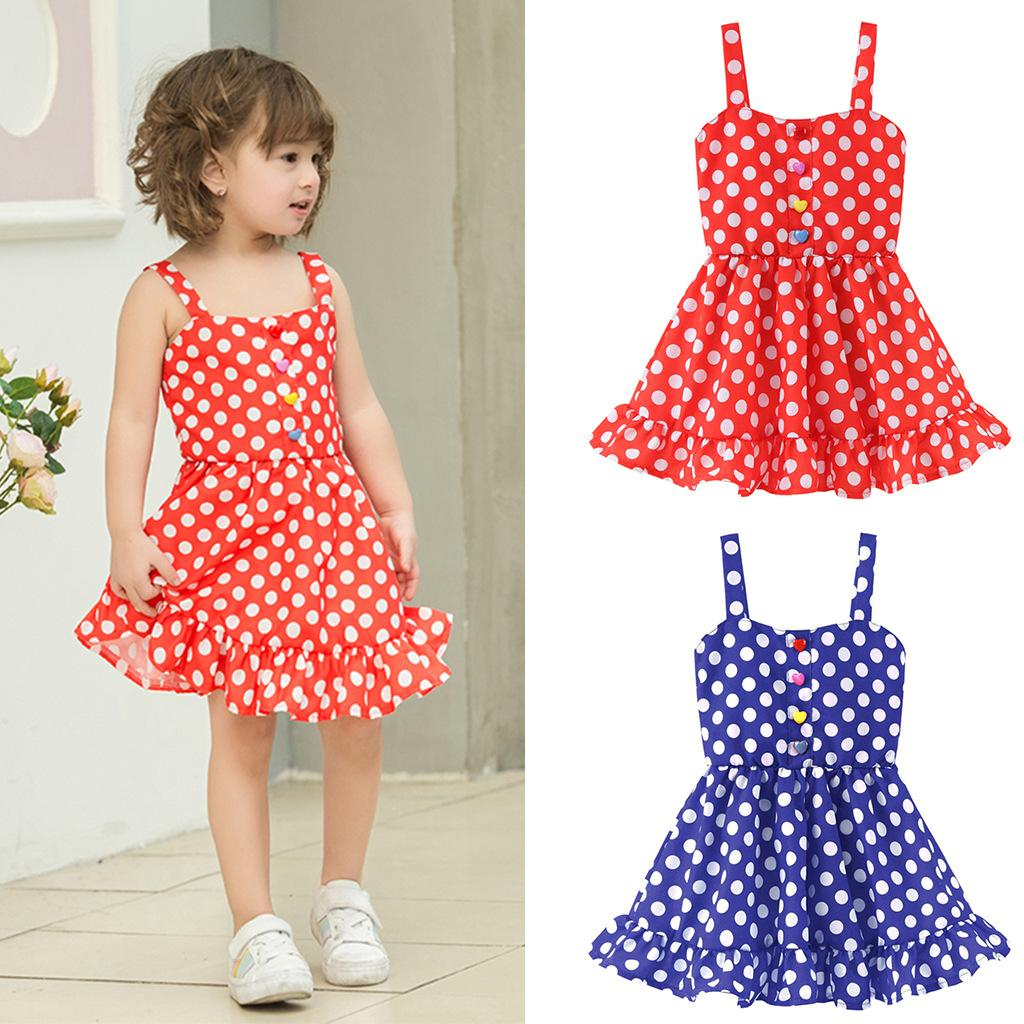 ee3d7635c803f 2019 Baby Rainbow Stripe Dot Dress Girls Cute Party Suspender Skirt ...