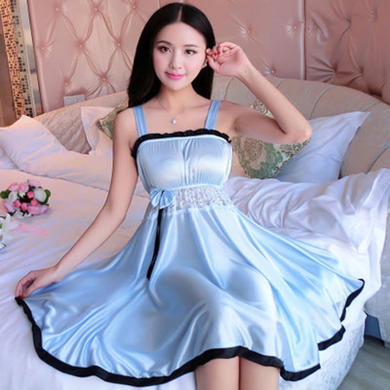 32864c36214 2019 Spaghetti Strap Sleepwear Women Silk Nightwear Nightgown Lace Sexy  Lingeries Plus Size XL Female Solid Night Dress Lingerie From  Dh sports outdoors