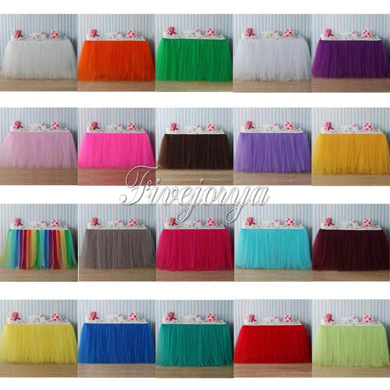 d04645ab0 22 colores tul tutu falda de mesa tul vajilla para la decoración de la boda  fiesta de bienvenida al bebé mesa de la boda bordeando textiles para el ...