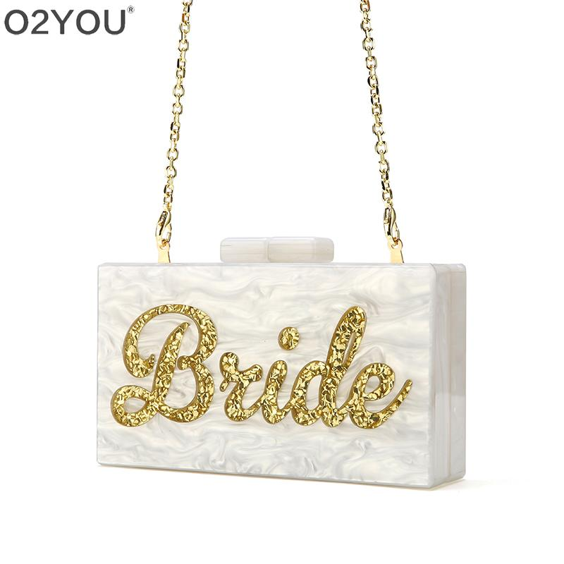 Letter Name Bride Wedding Party Travel Lady Female Acrylic Box Clutches Purse Wallet Small Square Messenger Bag bolsa feminina