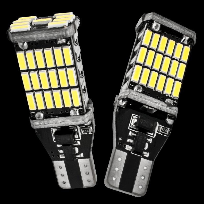 2PCS T15 921 W16W 45 SMD 4014 LED Auto Supplémentaire Lampe CANBUS AUCUNE ERREUR Reverse Lights Voiture Daytime Running Light Blanc DC 12 V 2X