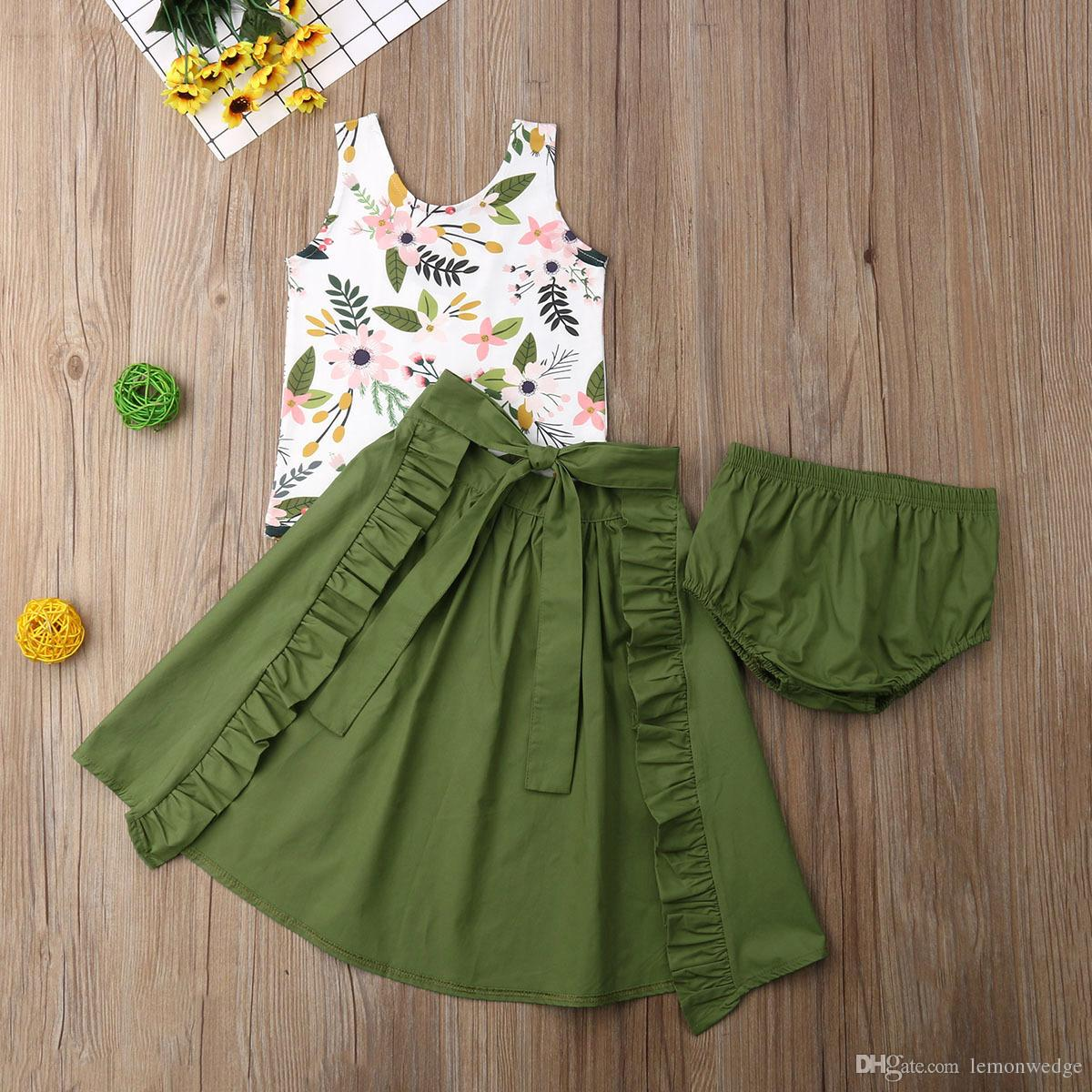 3PCS Baby Girl Clothes Set Sleeveless T-shirt Tops Skirts Shorts Bowknot Summer Party Clothes Set Child