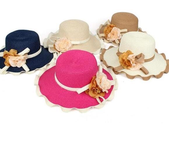 d89c8d31 Summer Straw Hat For Girls Wavy Edge Flower Large Brim Bowknot UV ...