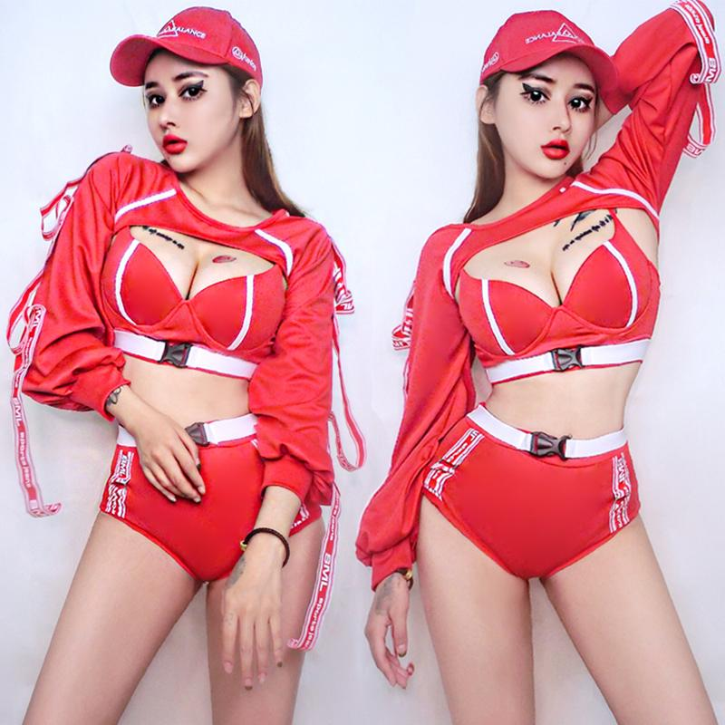 Jazz Dance Costume Women'S Street Hip Hop Clothing Nightclub Bar DS Costumes Female Singer Dj Stage Performance Red Suit DWY2265