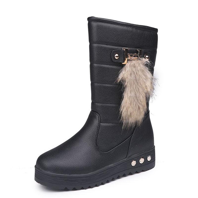 venta de tienda outlet compras gran venta High Bota Waterproof Ladies Snow Winter Shoes Woman Plush Insole Botas  Mujer Invierno Winter Women Boots Mid-Calf PU Boots