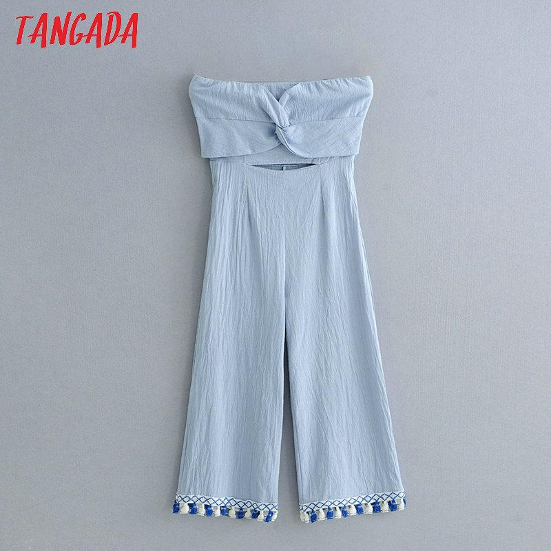 d1edfe6464f 2019 Tangada Woman Hollow Out Wide Leg Pants Jumpsuit Strapless Cropped  Blue Tassels Jumpsuits Female Holiday Brand Rompers ZL52 From Beenlo