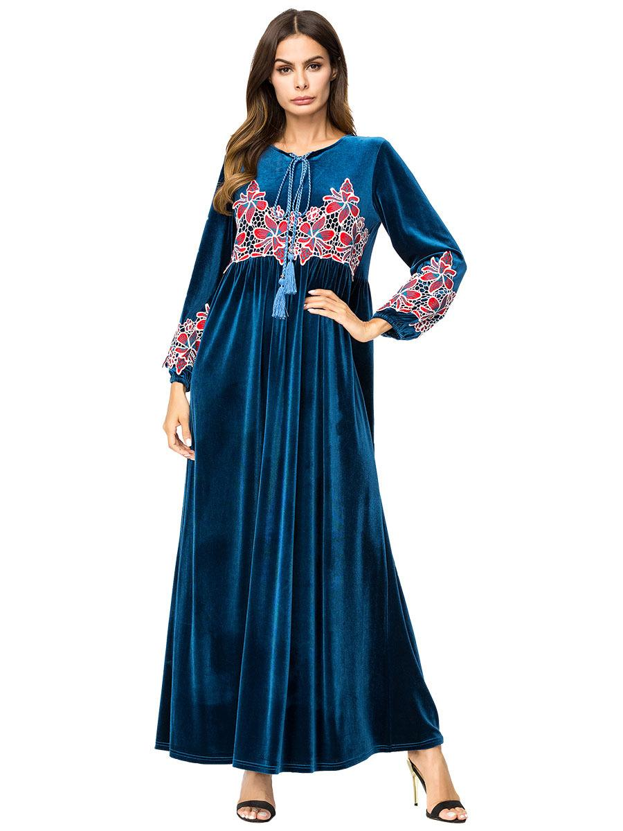 2019 187301 Baju Muslim Hand Embroidered Korean Long Sleeved Dress