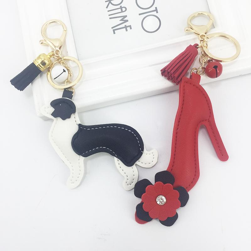 Cute PU Key Chains New PU Artificial Leather High Heels Puppy Key Ring Pendant Small Bell Tassel Bag Hanging Ornaments Wholesale