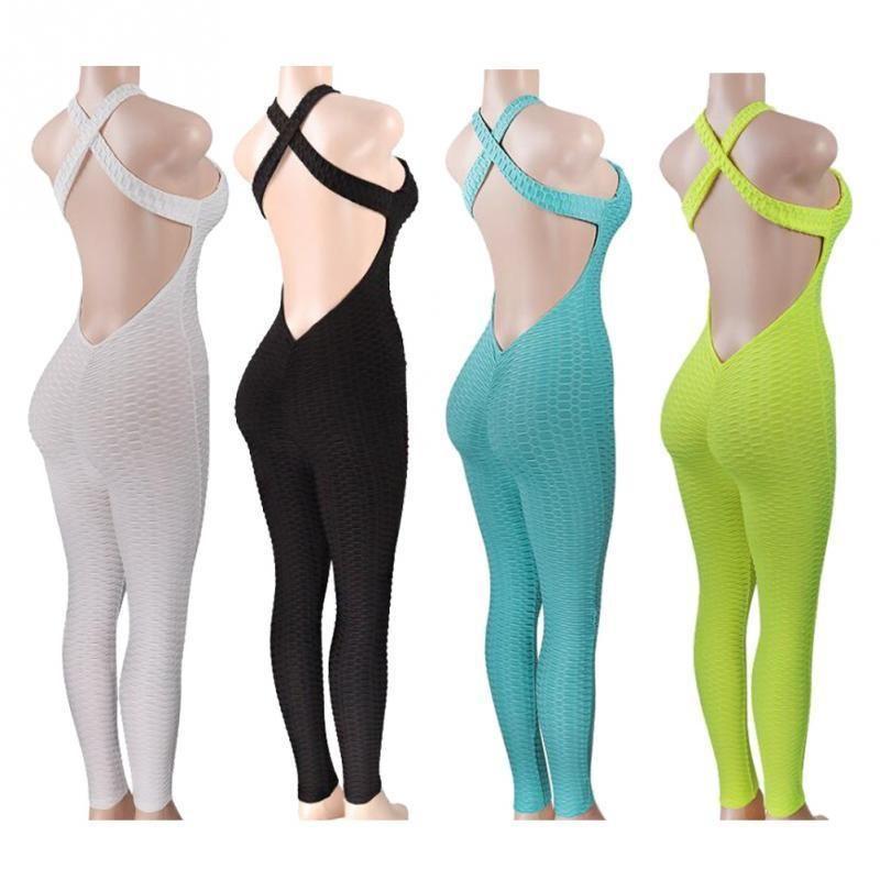 f4742e4f3bb Yoga Sets Fitness Clothing Women s One-pieces Sports Suit Set Workout Gym  Fitness Jumpsuit Pants Sexy Yoga Set Gym Bodysuit C19040301