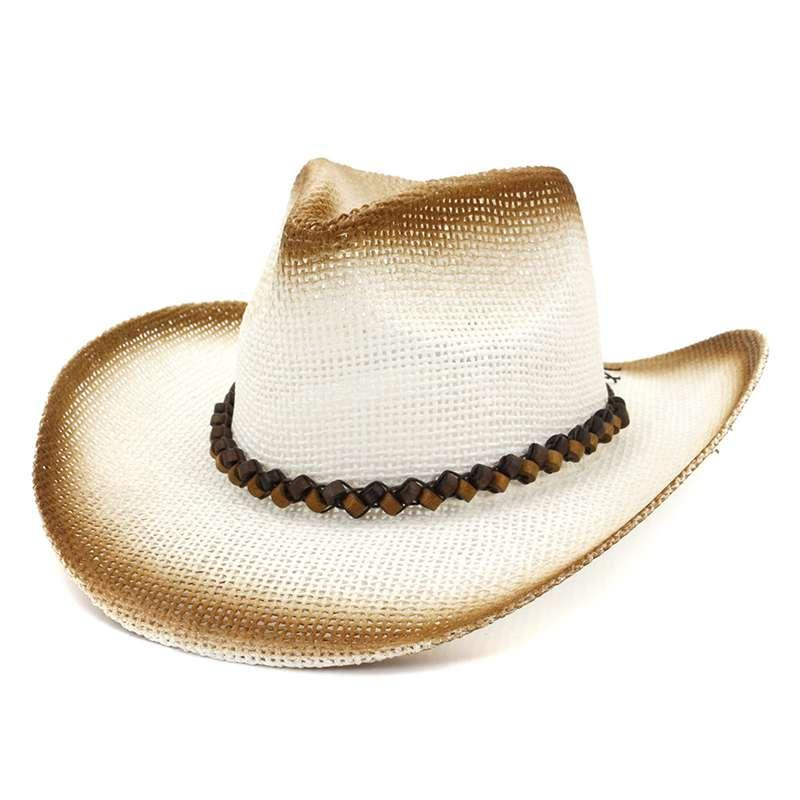 861c9f2d33c8e WZCX 2019 Fashion Spray Paint Wooden Beads Casual Straw Hat Tide Cowboy  Outdoor Wide Brim Beach Hat Women S Cool Hats Panama Hats From Naixing