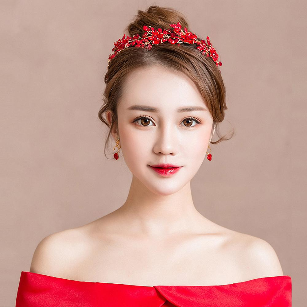 2019 Red Metal Flower Headband Hair Accessories Women Evening Party  Headpiece With Dangle Earrings Bijoux Girls Prom Party Headwear From  Guichennecklace 379d2aeb6cd