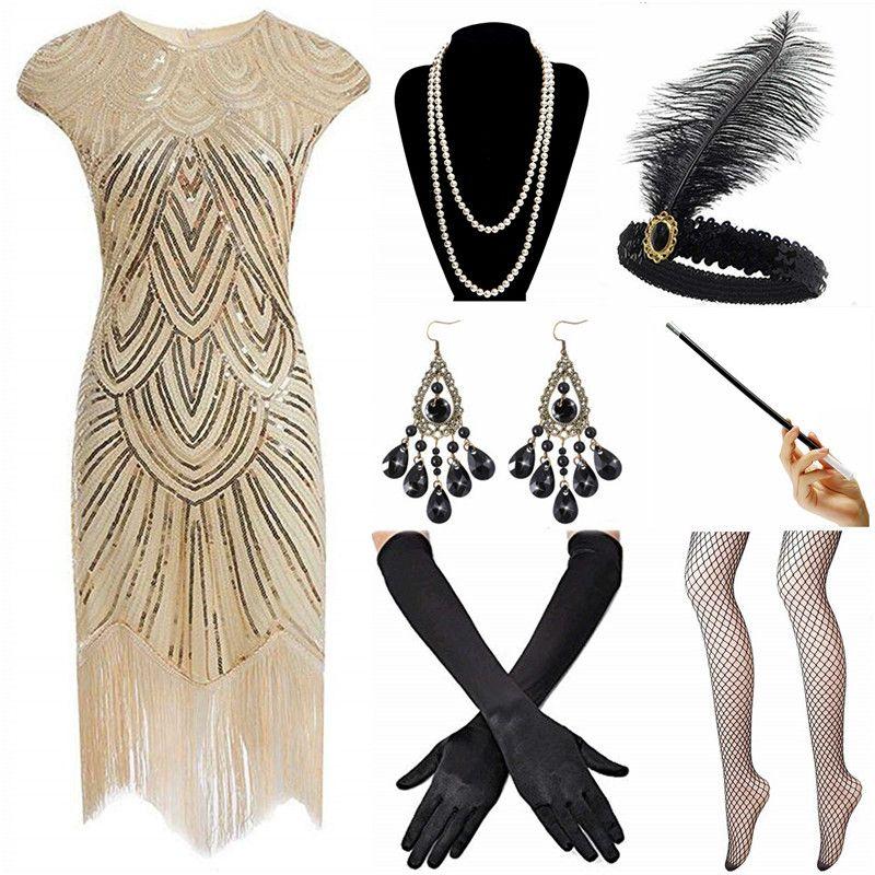 Jahre Mit Perlen Great Fransen 1920 Kostüm Zubehör Flapper 20er Frauen Kleid Brüllenden Gatsby Qualität Set roQCxBedW