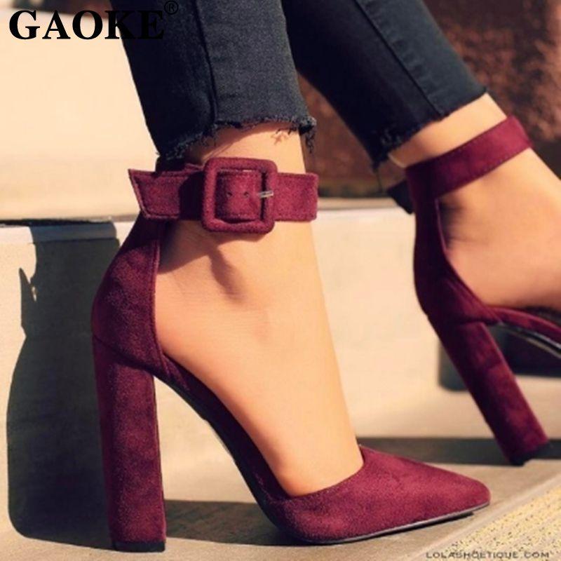 Compre Zapatos De Vestir De Diseñador 2019 Mujer Correa De Tobillo  Sandalias De Plataforma Mujer Tacón Alto Punta Estrecha Mujer Tacón Negro  Bombas Verano ... ee73e45e8065