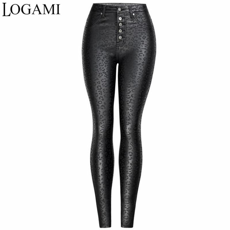 Hot Women/'s Leapord Print Faux Leather PU High Waist Legging Pants Trousers