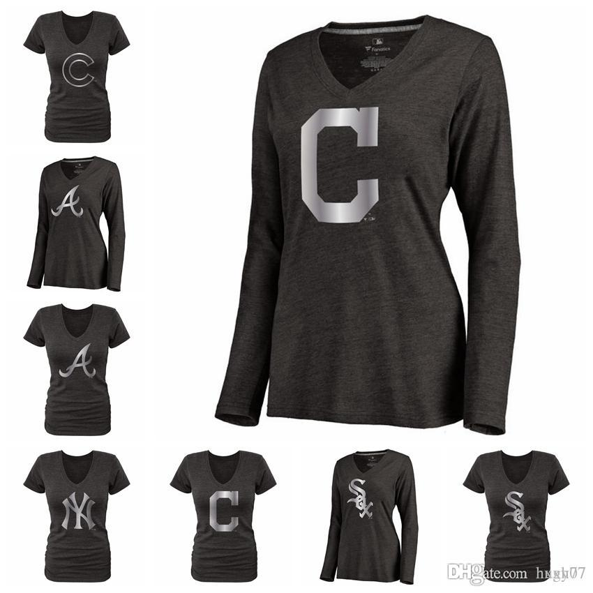2019 Chicago White Sox Chicago Cubs Atlanta Braves New York Yankees  Cleveland Indians Women S Platinum Collection Long Sleeve V Neck T Shirt  From Hxxy77 651e4039fc5