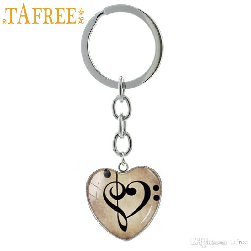 TAFREE Vintage Bass Treble Clef Heart Pendant key chains ring Music Inspiration Jewelry musical note musician keychain HP176