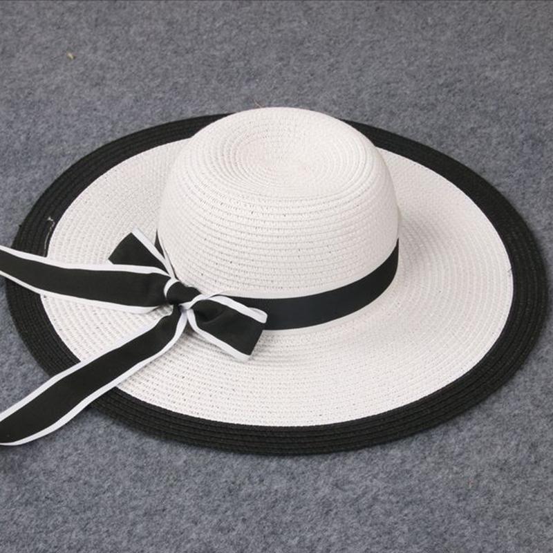 b9fb48b57691e Summer Sun Hats Ladies Beach Hat Foldable Wide Brimmed Cap Sun Cap Black  White Bow Outdoor Tourism Caps Free Shiping Sale Beach Hats Sun Hats For  Women From ...