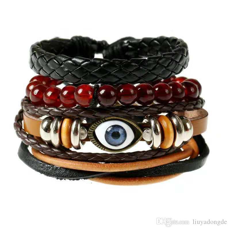 5e635c9d2e681 Europe and America simple retro set bracelet diy woven leather bracelet eye  accessories men's hemp rope leather bracelet