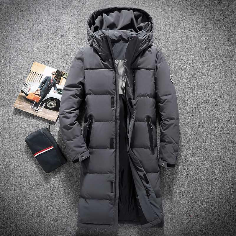 a2e96521d25 2019 Mens Hooded Extra Long Duck Down Padded Jackets Man Thick Winter Down  Coats Male Fashion Long Overcoat Keep Warm Outerwear 8005 From Bamdan