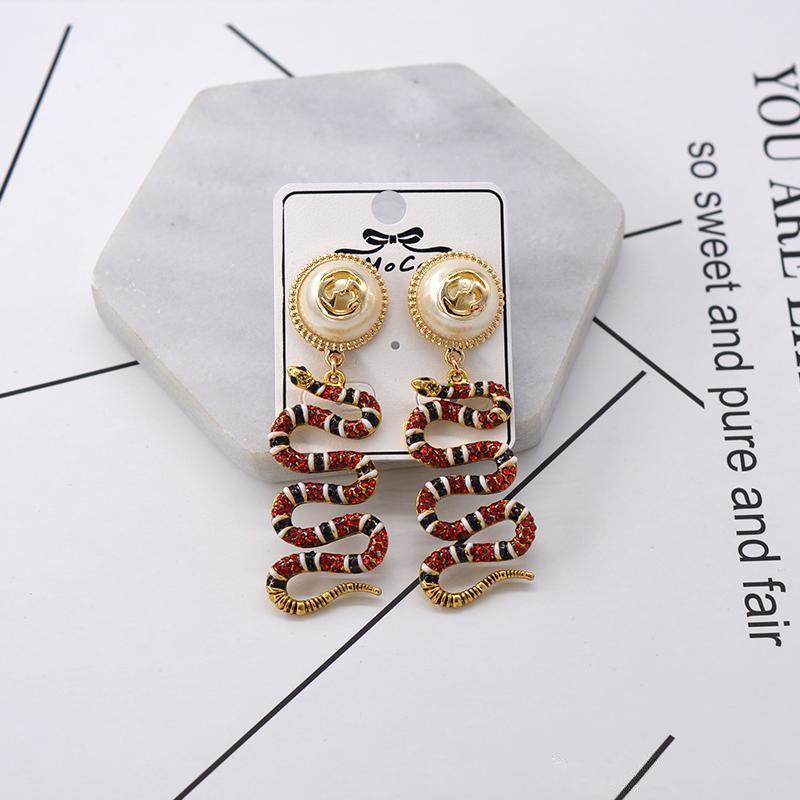 2dd5077ab 2019 Women Snake Earrings Diamond Rhinestone Earring Animal Studs  Dominating Earring Colorful Snake Pendant Earrings Beauty Pearl Flower  Earrings From ...