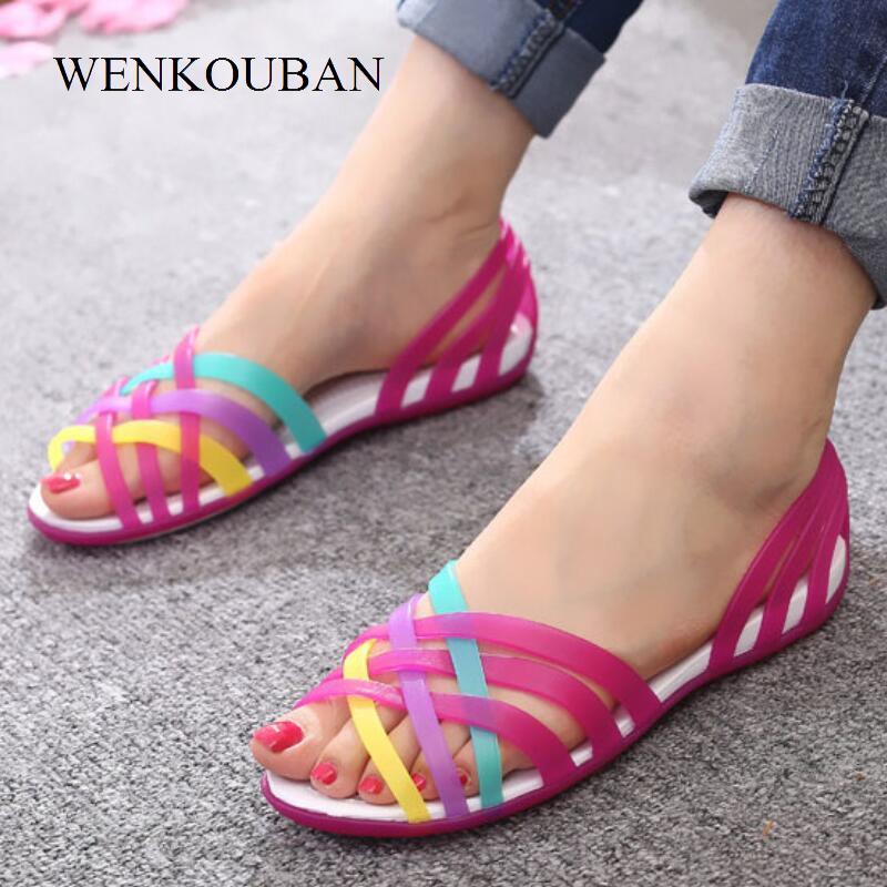 47311280370b0 Acheter Sandales D été Pour Les Femmes Chaussures De Plage Gelée Pantoufles  Plates Femme Sandalias Feminias 2019 Nouvelle Arrivée Dames Chaussures  Chaussure ...