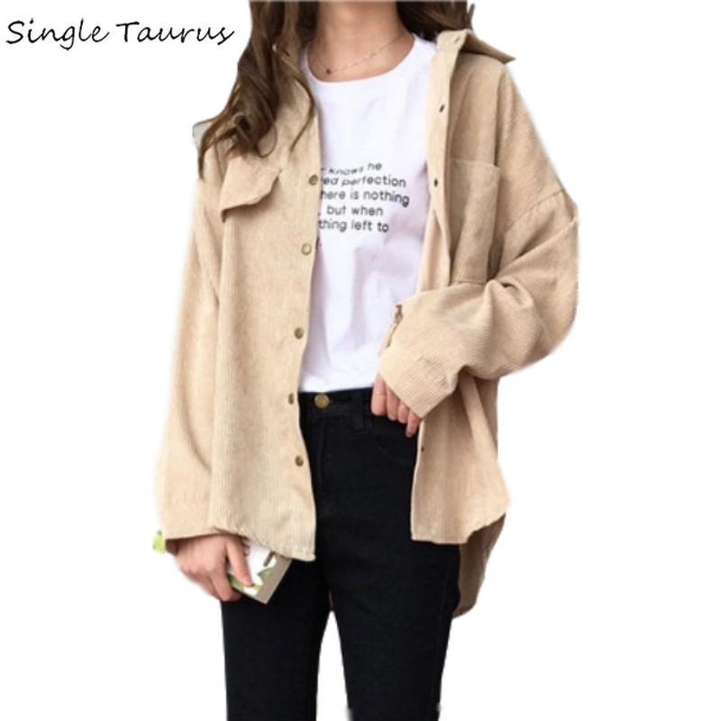 Corduroy Shirt Coat Women Fashion Long Sleeve Preppy Wide Waist Turn Down Collar Crop Jacket Women Harajuku Casual Pocket Jaket S20200106