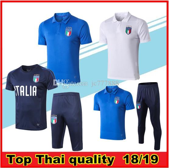 2019 Italy Short sleeve polo shirt soccer training suit Survetement 18/19/20 DE ROSSI football jersey set BONUCCI Short sleeve tracksuit